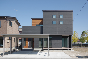 木と石のコラボレーションハウス
